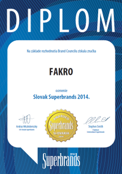 FAKRO brand awarded with Superbrands 2014 prize in Slovakia