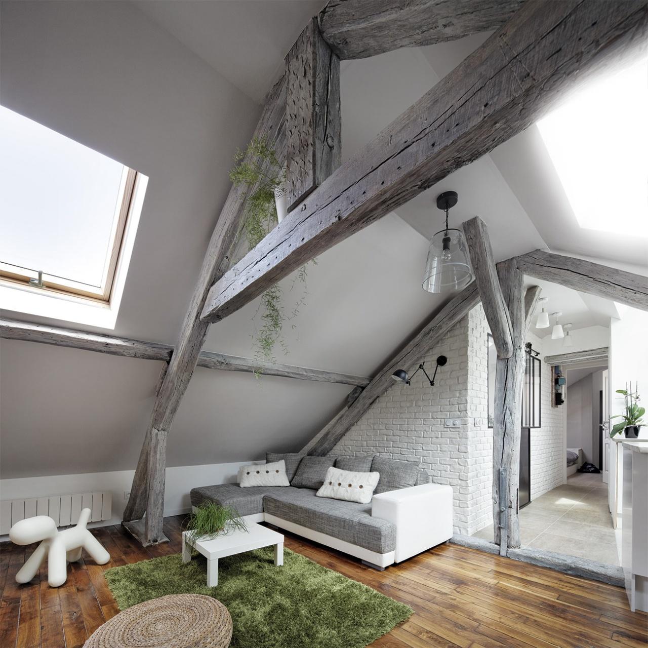 Attic Living Room interiors in the attic - living room - fakro