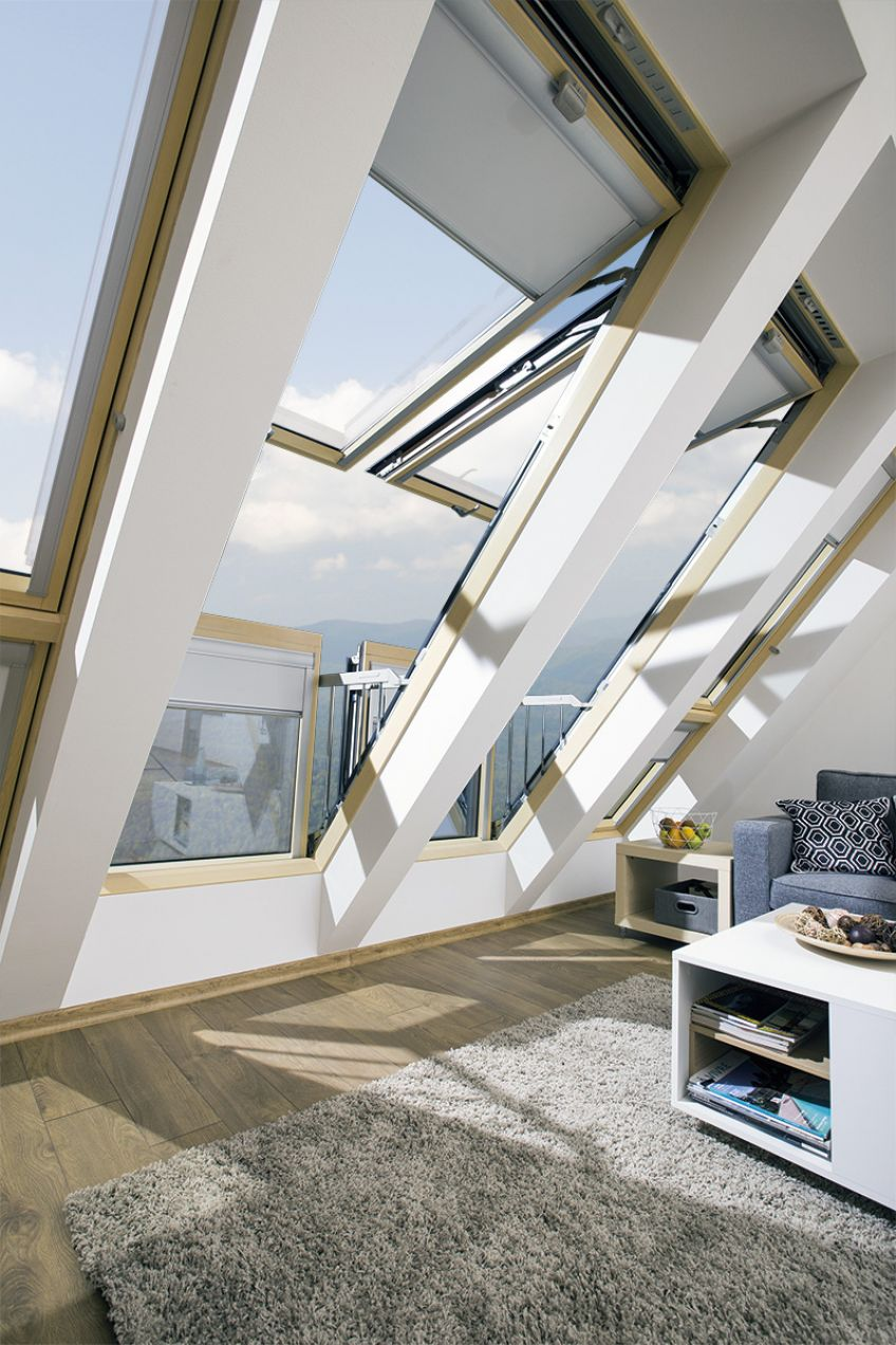 Innovative large roof window in which the open sashes for Innovation windows
